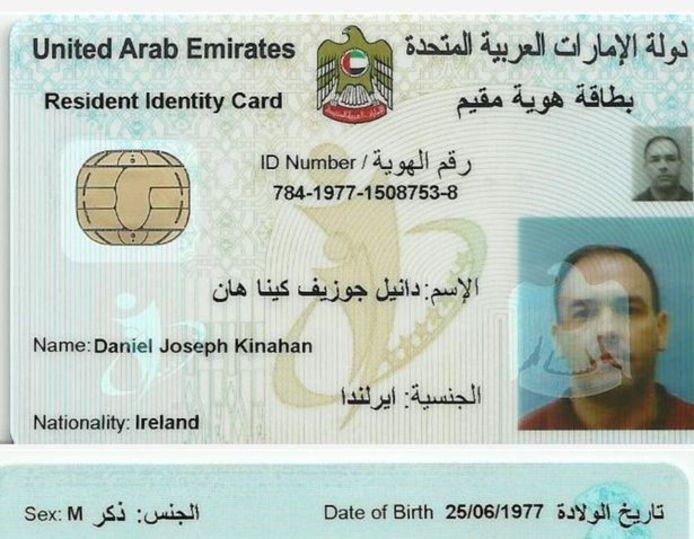 Identiteitskaart van Daniel Kinahan.