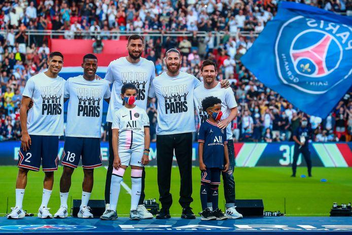 De aanwinsten van PSG: Achraf Hakimi, Georginio Wijnaldum, Gianluigi Donnarumma,  Sergio Ramosen Lionel Messi.