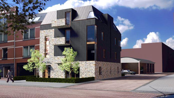 Het toekomstige gebouw op de hoek van de Haarviltstraat in Oss, met erachter de reconstructie van de autogarage van Janota.