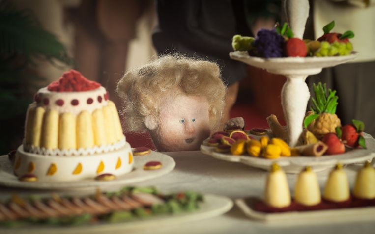 Alles in 'Ce magnifique gâteau!' is met textiel bekleed. Dat geeft een bijzonder gevoel, en dat vangt het licht mooi. 'Net die obsessieve aandacht voor detail geeft de film zo'n rijkdom', legt Ben uit.  Beeld RV