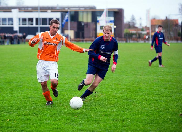 Joffrey Geldof in 2011 in actie als speler van Patrijzen. Komend seizoen is hij nog steeds trainer van de club uit 's-Heerenhoek.