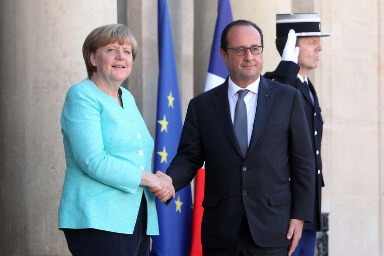 Angela Merkel en François Hollande Beeld AP