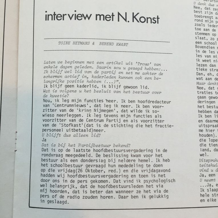 Het interview met Nico Konst in de schoolkrant. Beeld