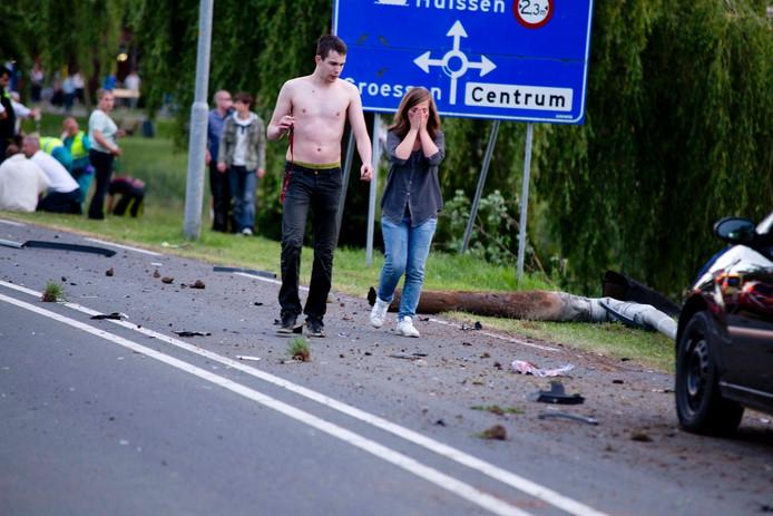 Ontreddering na het ongeval in Duiven.