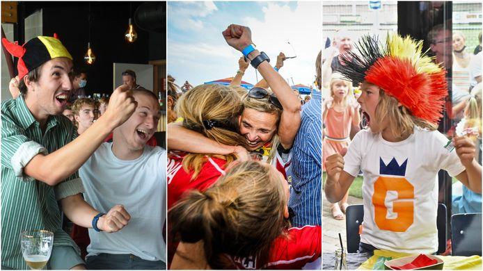 Vlnr.: Intense vreugde in Dender Hockey Club Ninove. Ontlading bij de familie van Alexander Hendrickx op het strand van Knokke-Heist. De jongens van Roeselare Rangers schreeuwen hun blijdschap uit.