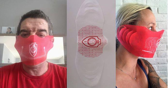 Patrick en Annelies met hun mondmasker van RAFC.
