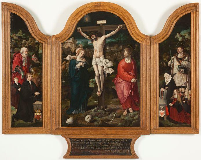Het drieluik is gemaakt in opdracht van Jacob Kanis, de vader van Petrus Canisius. Op het linker deel de toen nog jonge Peter Kanis geknield aan het bidden.
