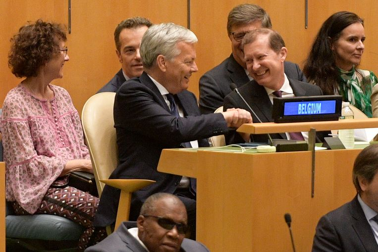 Didier Reynders ontvangt felicitaties na de verkiezing van België tot niet-permanent lid van de VN-Veiligheidsraad. Beeld BELGA