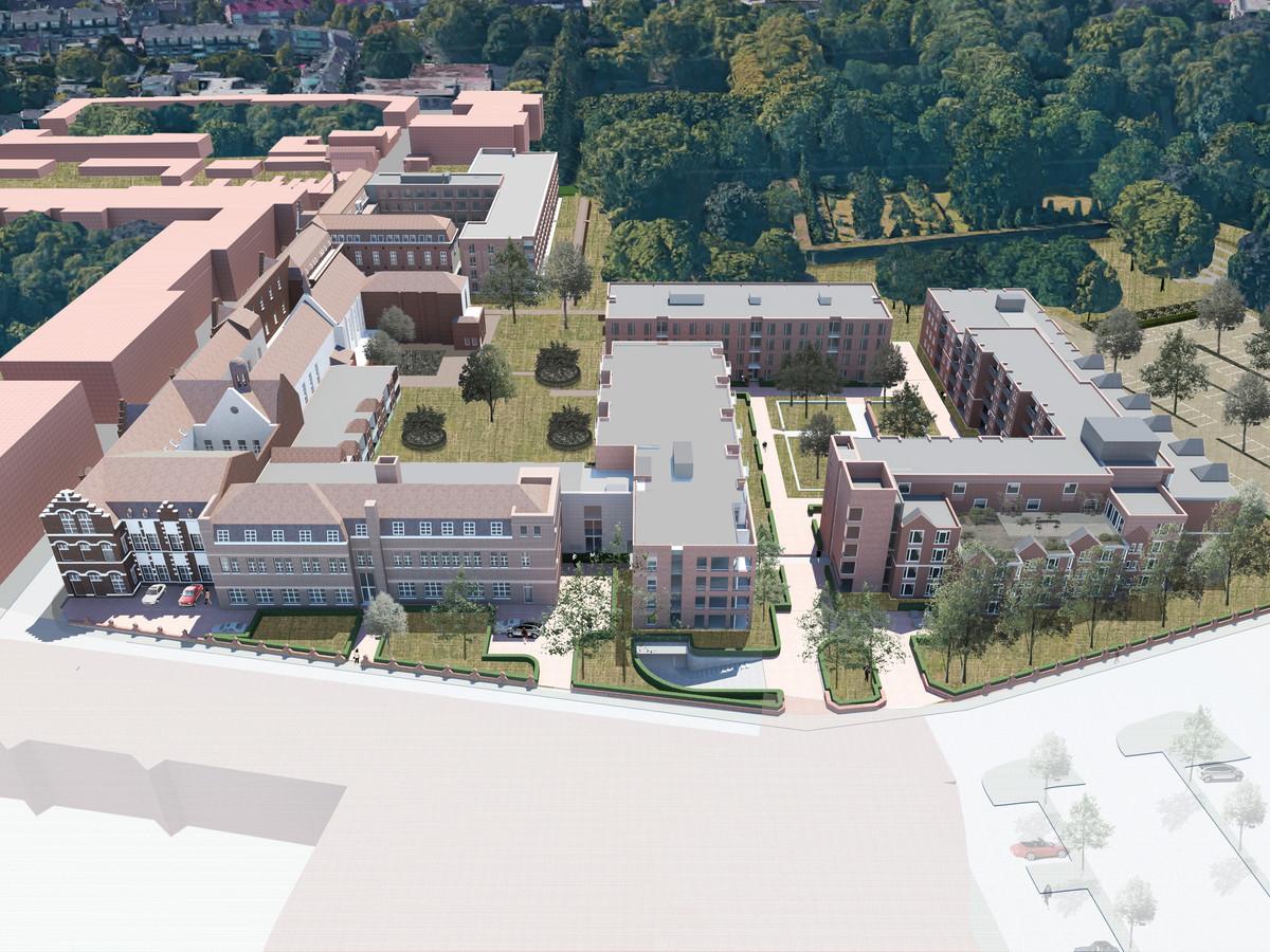 Een impressie van het kloostercomplex van de Zusters van Liefde. Begin 2023 moet alles klaar zijn.