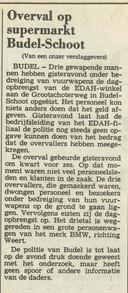 Het artikel in het ED van 3 januari 1987 over de overval in de Edah-supermarkt in Budel-Schoot.