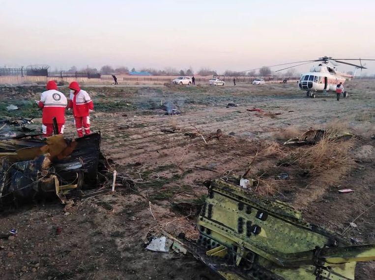 Het toestel crashte vlak na het opstijgen in Teheran en had Kiev als bestemming. Er vielen minstens 170 doden. Beeld IRNA via CNN