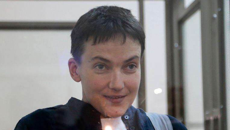 Nadija Savtsjenko op 21 maart van dit jaar in een Russische cel.