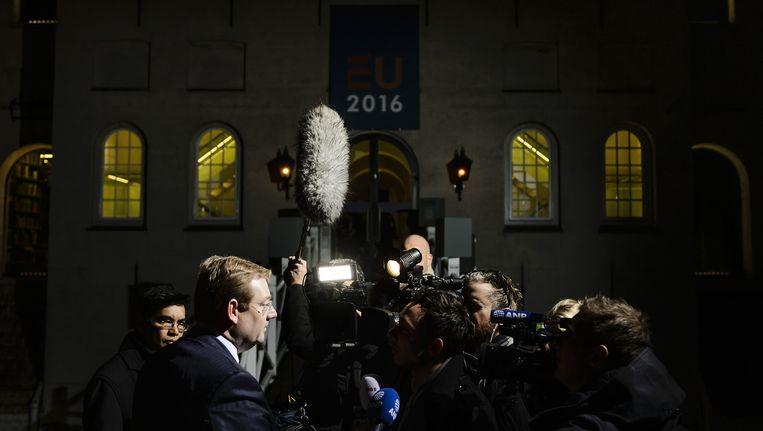 Minister Ard van Steur van Veiligheid en Justitie arriveert bij het Scheepvaartmuseum voor de tweede dag van de informele Justitie en Binnenlandse Zaken (JBZ) Raad. Beeld anp