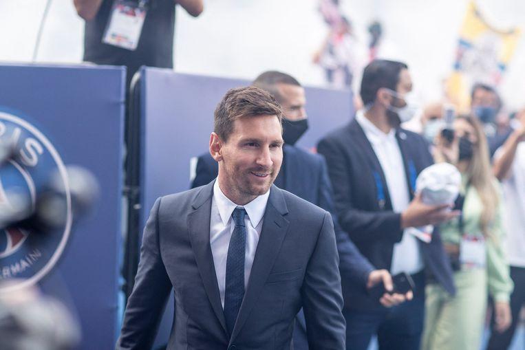 Lionel Messi in Parijs. Beeld Photo News