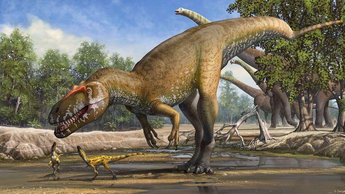 Een ongedateerde artist-impression van de Torvosaurus, de onlangs ontdekte grootste vleesetende dinsosaurus ooit gevonden in Europa