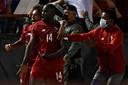 Spelers van Panama vieren de 2-0.