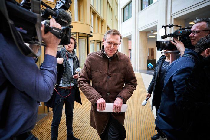 Minister Bruno Bruins voor Medische Zorg (VVD) na het zoveelste coronaoverleg bij het ministerie van Veiligheid en Justitie.