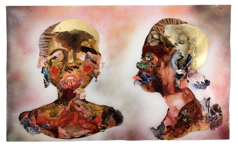 Wangechi Mutu, 'Blue Eyes' (Belgisch paviljoen). Beeld Courtesy the Artist; Susanne Vielmetter Los Angeles Projects. Collection Paul and Linda Gotskind, Chicago