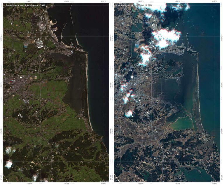 De Japanse stad Soma, voor en na de tsunami. Beeld AFP