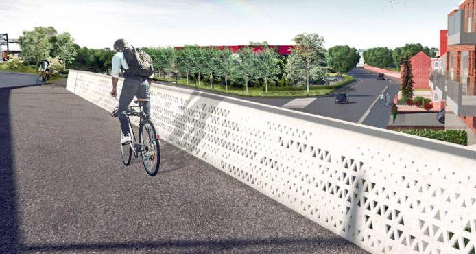 Een blik op de toekomstige fietsbrug langs het spoor, over het kruispunt Vijfstraten-Singel.