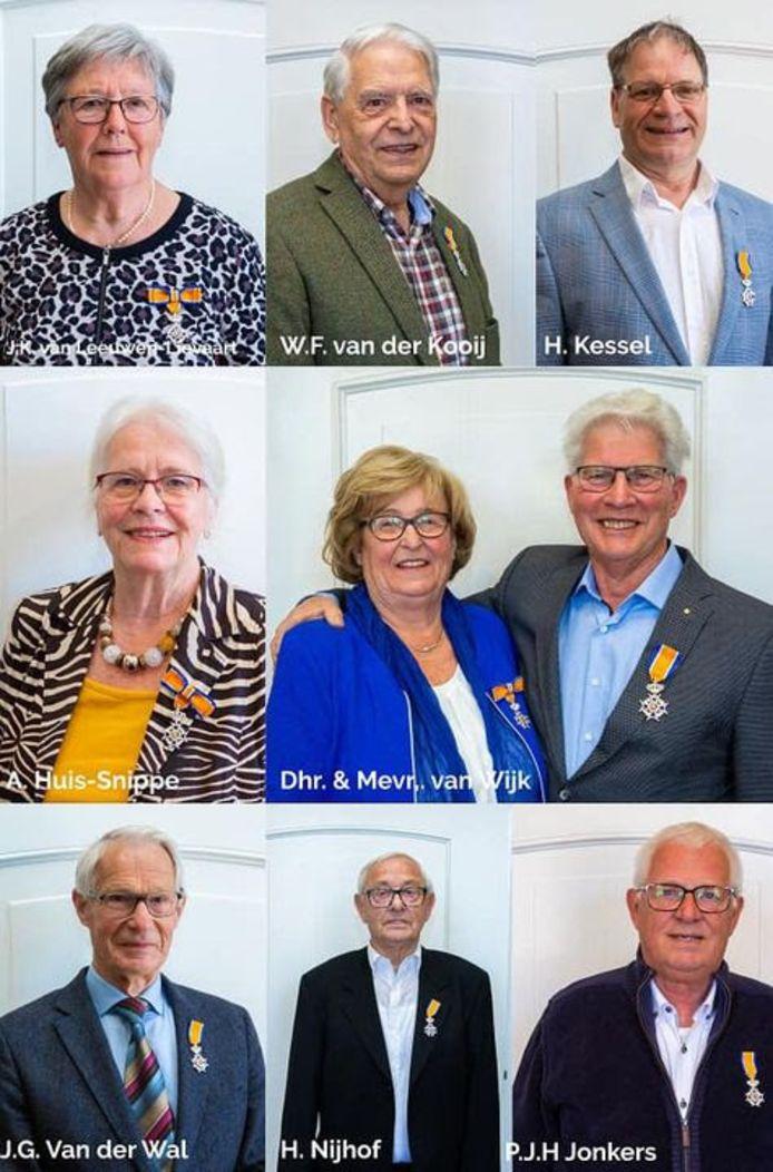 Lintjesregen 2021: Een collage van de gedecoreerden in de gemeente Zaltbommel.