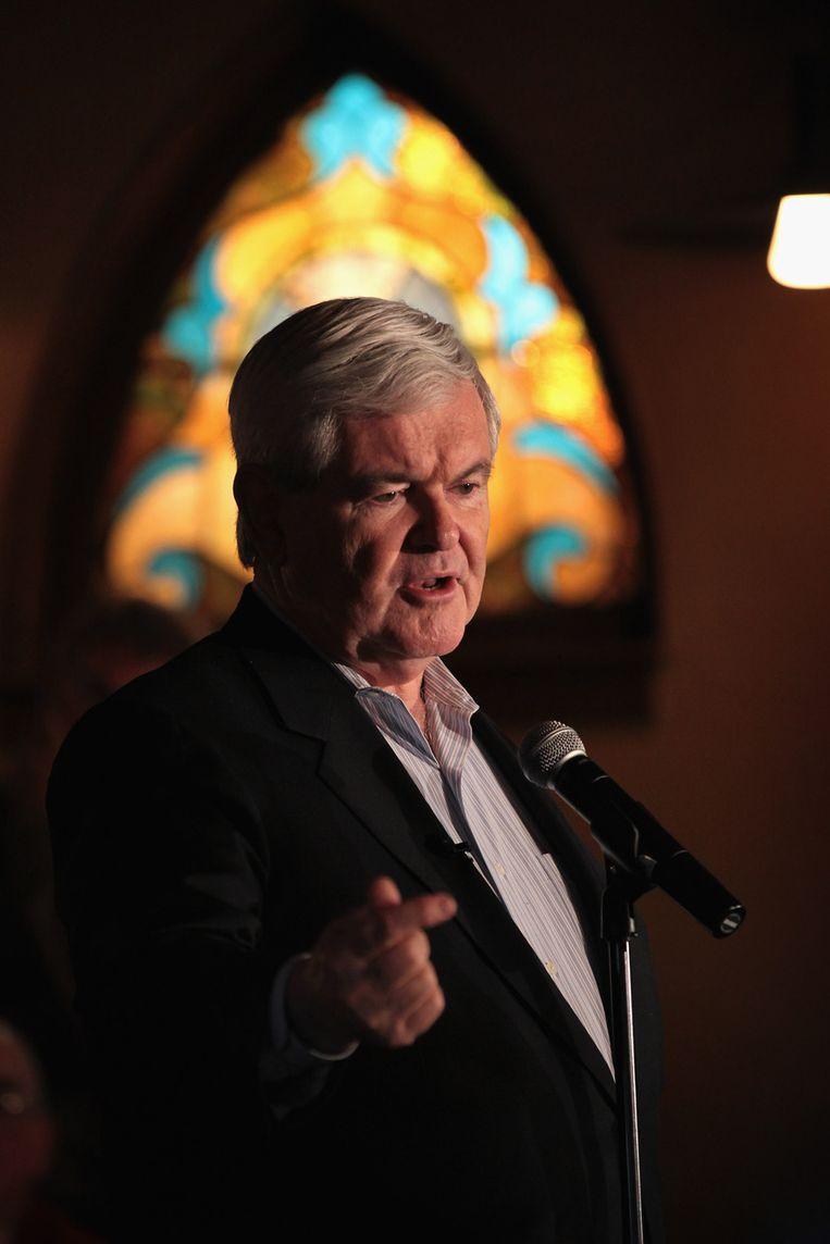 Newt Gingrich valt diep in Iowa. Beeld AFP