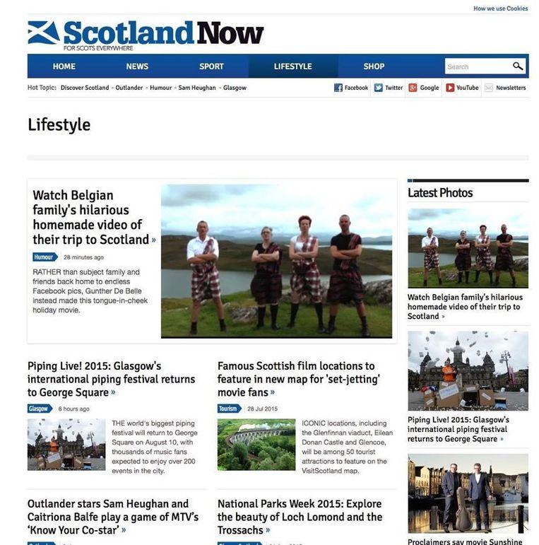 Het viertal uit Sint-Niklaas haalde de voorpagina van 'Scotland Now' met hun hilarisch vakantiefilmpje.