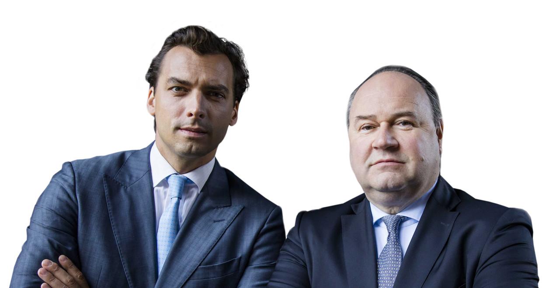 Portret van Forum voor Democratie-leider Thierry Baudet en Henk Otten