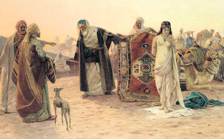 null Beeld `Een odalisk (slavin in een harem) in de woestijn¿, van Otto Pilny (1866-1938), hofschilder van de Egyptische onderkoning.