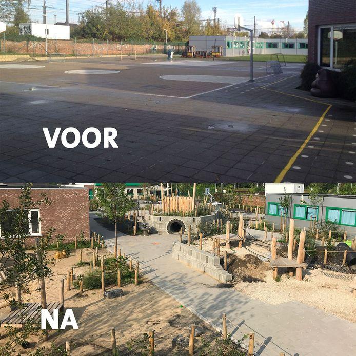 De speelplaats van basisschool Sint-Paulus in Kortrijk voor en na de werken voor de klimaatspeelplaats. De metamorfose is groot.
