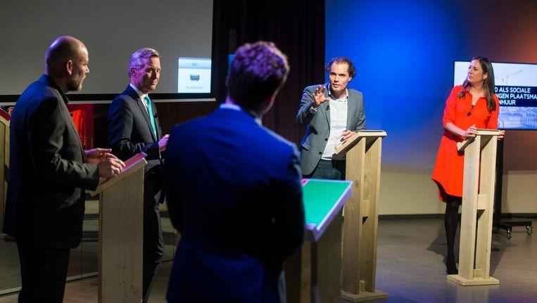 De Amsterdamse lijsttrekkers tijdens een recent debat Beeld Maarten Brante