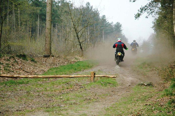 Foto ter illustratie. Wildcrossen in de bossen.