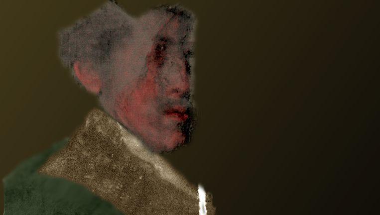 Tentatieve kleurreconstructie van Rembrandts verbogen portret. Beeld J. Paul Getty Museum