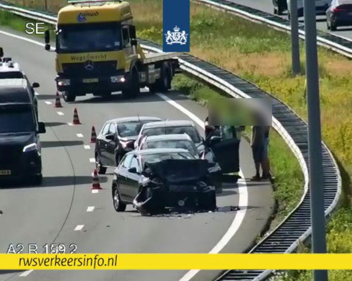 Ongeluk op A2 bij Eindhoven.