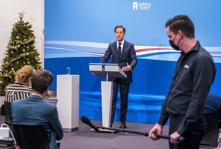 Premier Mark Rutte tijdens de wekelijkse persconferentie na de ministerraad.   Beeld ANP