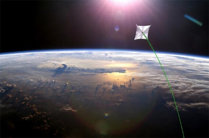 Een flinterdun ruimtetuig, voortgestuwd door een laser, zou met 26 procent van de lichtsnelheid kunnen reizen.