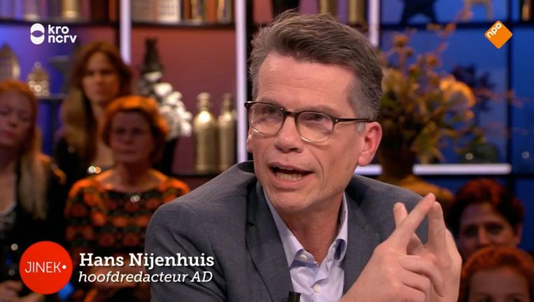 Hoofdredacteur AD Hans Nijenhuis bood zijn excuses aan na zijn optreden over de oliebollentest bij Jinek. Beeld Screenshot Jinek