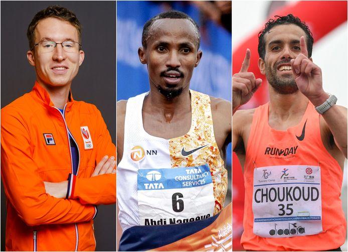 Bart van Nunen, Abdi Nageeye en Khalid Choukoud (vlnr) gaan naar de Spelen