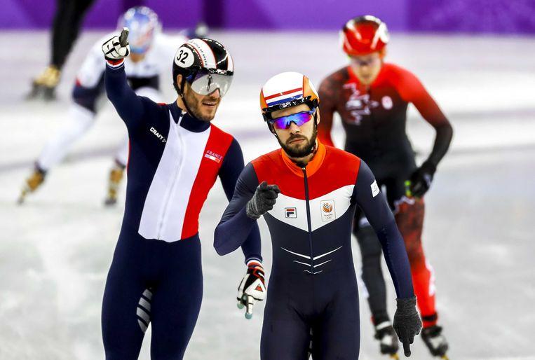 Sjinkie Knegt (M) in de Gangneung Ice Arena tijdens de halve finale van de 1500 meter shorttrack tijdens de Olympische Winterspelen van Pyeongchang.  Beeld ANP
