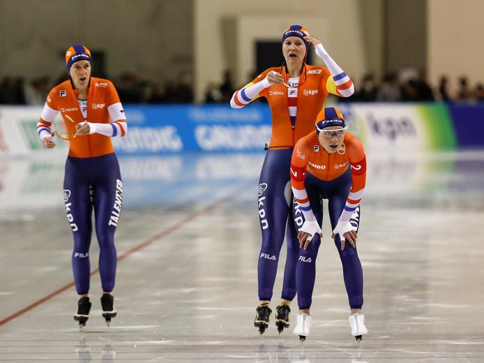 De Nederlandse vrouwen werden een paar weken geleden, toen nog met Joy Beune (rechts) in de ploeg, tweede.