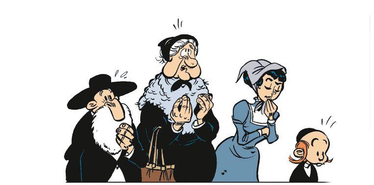 De Joodse familie die Lucky Luke moet escorteren door gevaarlijk gebied. Beeld RV © LUCKY COMICS 2016