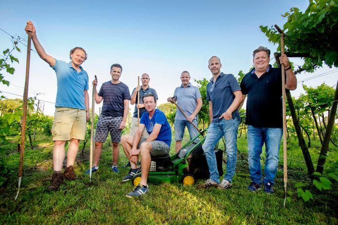 De vriendengroep die de schouders zet onder Wijngaard Steenvoorde: Erik Smidt, Stefan van Gils, Jurgen Boemaars, Erwin van Heeswijk, Laurens Embregts, Frank van Groenendaal en Bas van Elsacker.