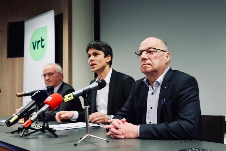 Voorzitter Luc Van den Brande, minister van Media Benjamin Dalle (CD&V) en interim-CEO Leo Hellemans. Beeld Tim Dirven