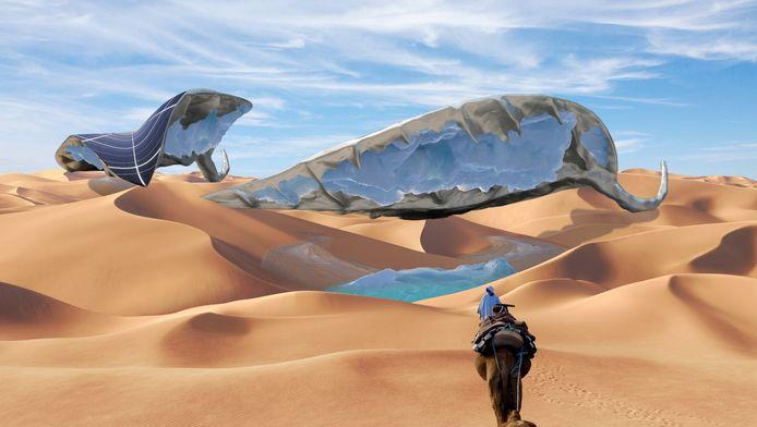 Ap Verheggen blijft in de eerste plaats een kunstenaar, maar aan de hand van zijn 'Sunglacier' zou water in de woestijn wel mogelijk moeten zijn. Dit 'blad' stelt een gigantisch zonnepaneel voor met daaronder condensors die het vocht uit de woestijnlucht moeten halen.
