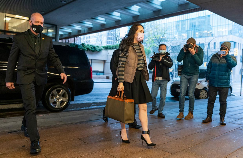 Huawei-topvrouw Meng Wanzhou verscheen maandag bij de rechtbank in Vancouver.  Beeld AP