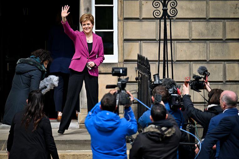 Nicola Sturgeon won met haar SNP 64 zetels – een te weinig voor een meerderheid in het parlement. Beeld Getty Images