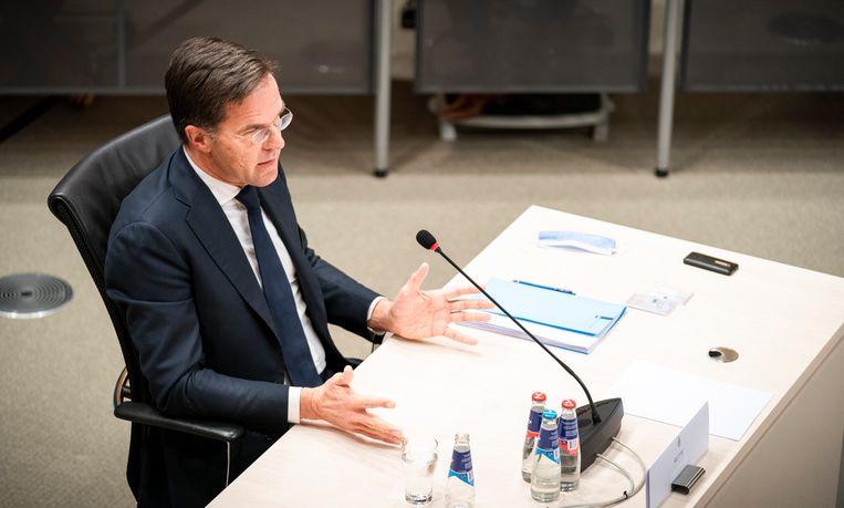 Premier Mark Rutte tijdens de laatste dag van de parlementaire enquêtecommissie Kinderopvangtoeslag. Beeld