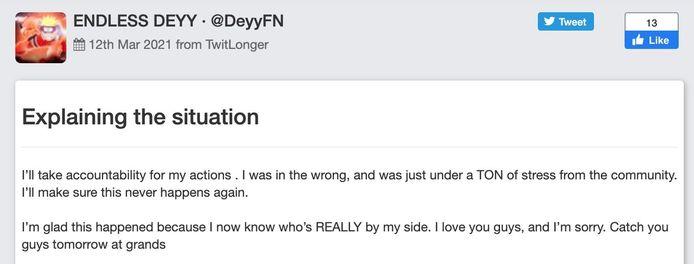 Het statement van Deyy.