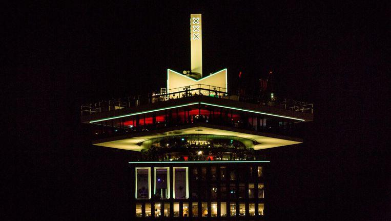 De A'DAM Toren is geel gekleurd ter ere van ADE Beeld Tammy van Nerum