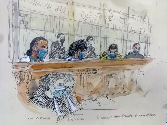 De verdachten vandaag in de rechtszaal in Parijs. Van links naar rechts: Ayoub El Khazzani, Bilal Chatra, Redouane El Amrani Ezzerrifi en Mohamed Bakkali.